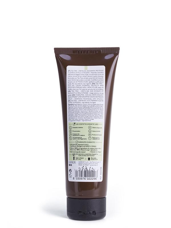 tea tree crema gel sos idrata protegge e lenisce la pelle stressata retro